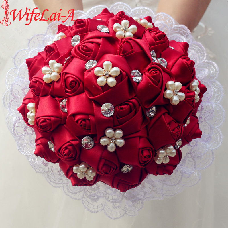 WifeLai-A 1Piece Blonder Vin Rød Rose Blomster Broche Kast Buketter Perle Blomster Diamant Bryllup Bryllup Dekor Bouquet W2286