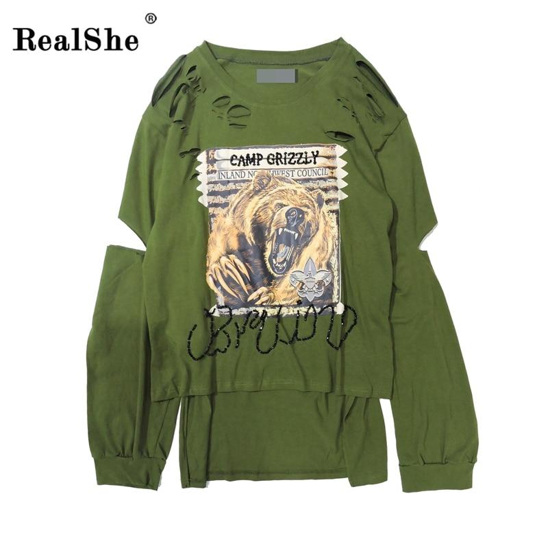 RealShe 2017 Vintage Army Green Print T Shirt Women Autumn Split Side Long Sleeve Hole Women Top Fashion Casual Fashion Clothes