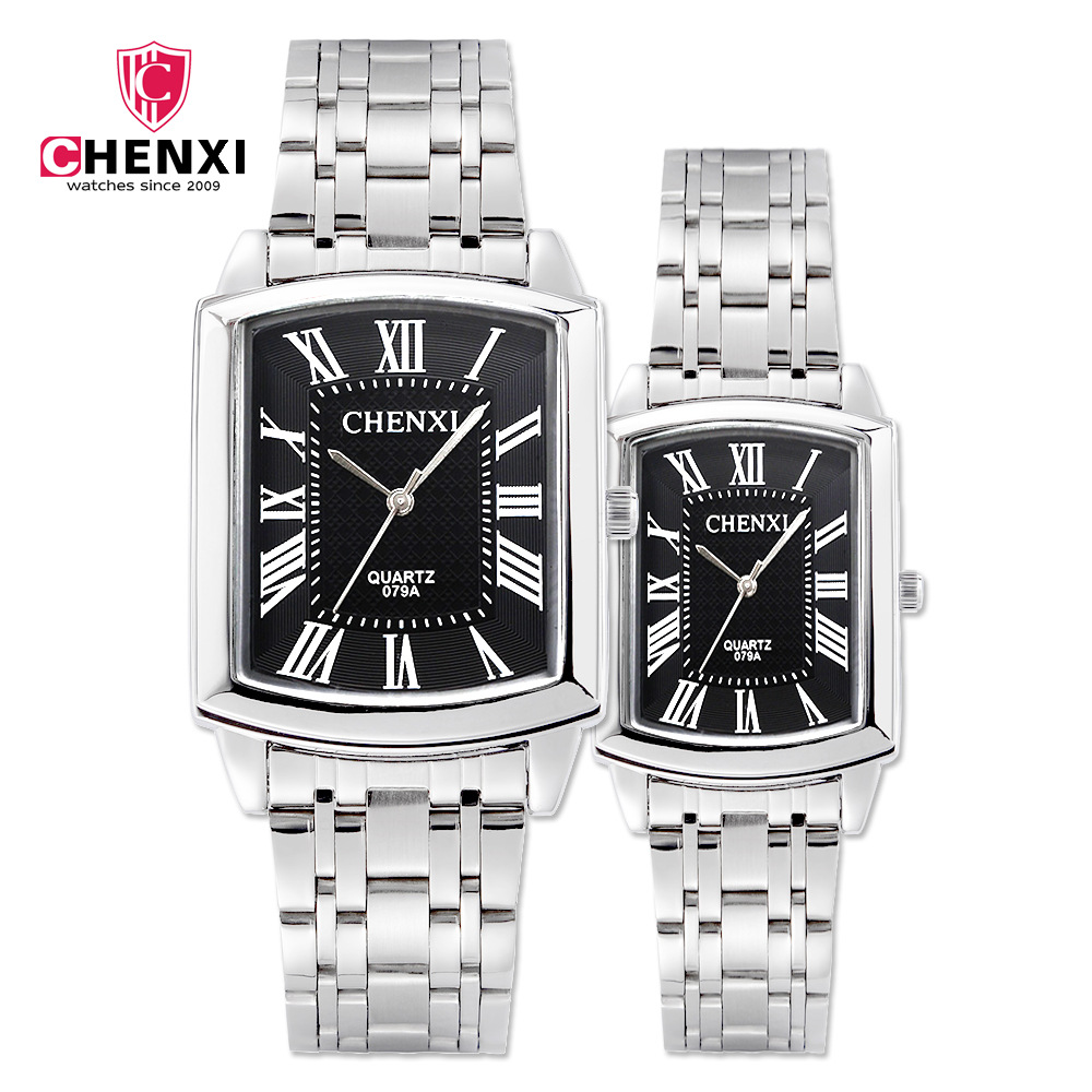 CHENXI Brand Fashion Classic Square Dial Couple Lovers Quartz Wristwatch Delicate Luxury Steel Strap Men Watch Women Watch 079A