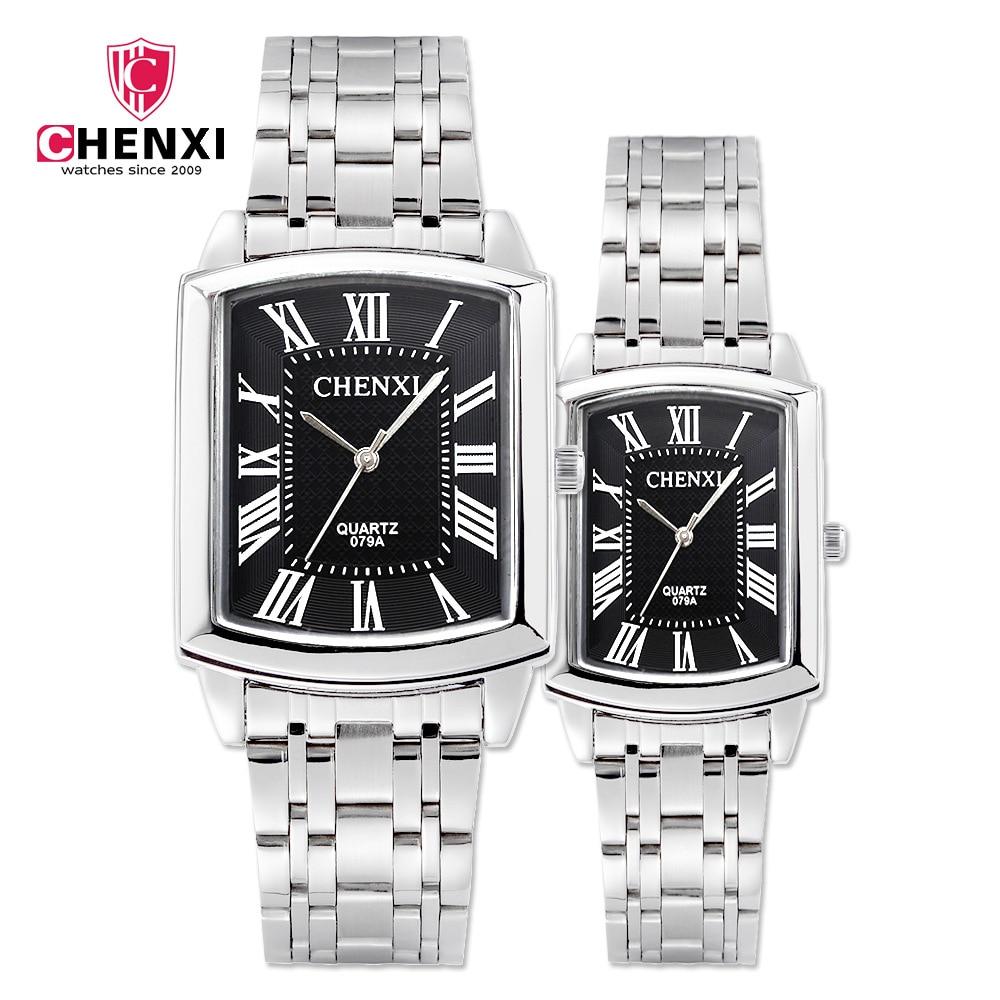 CHENXI Brand Fashion Classic Square Dial Couple Lovers Quartz Wristwatch Delicate Luxury Steel Strap Men Watch Women Watch 079A