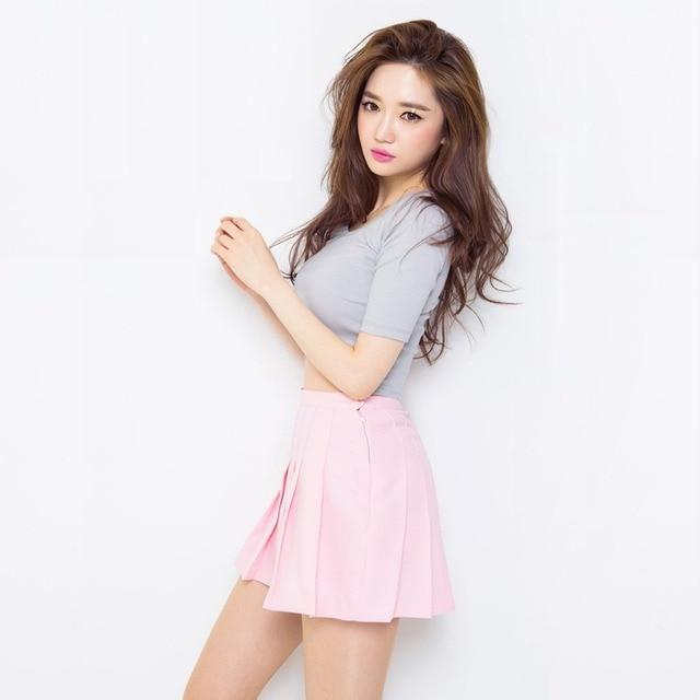 d3e42f4c7784d4 2015 New Spring Summer Style Korean Hot Fashion Solid Mini Pleated Skirts  Faldas High Waist Skirt Sexy Short Saia Feminina T34
