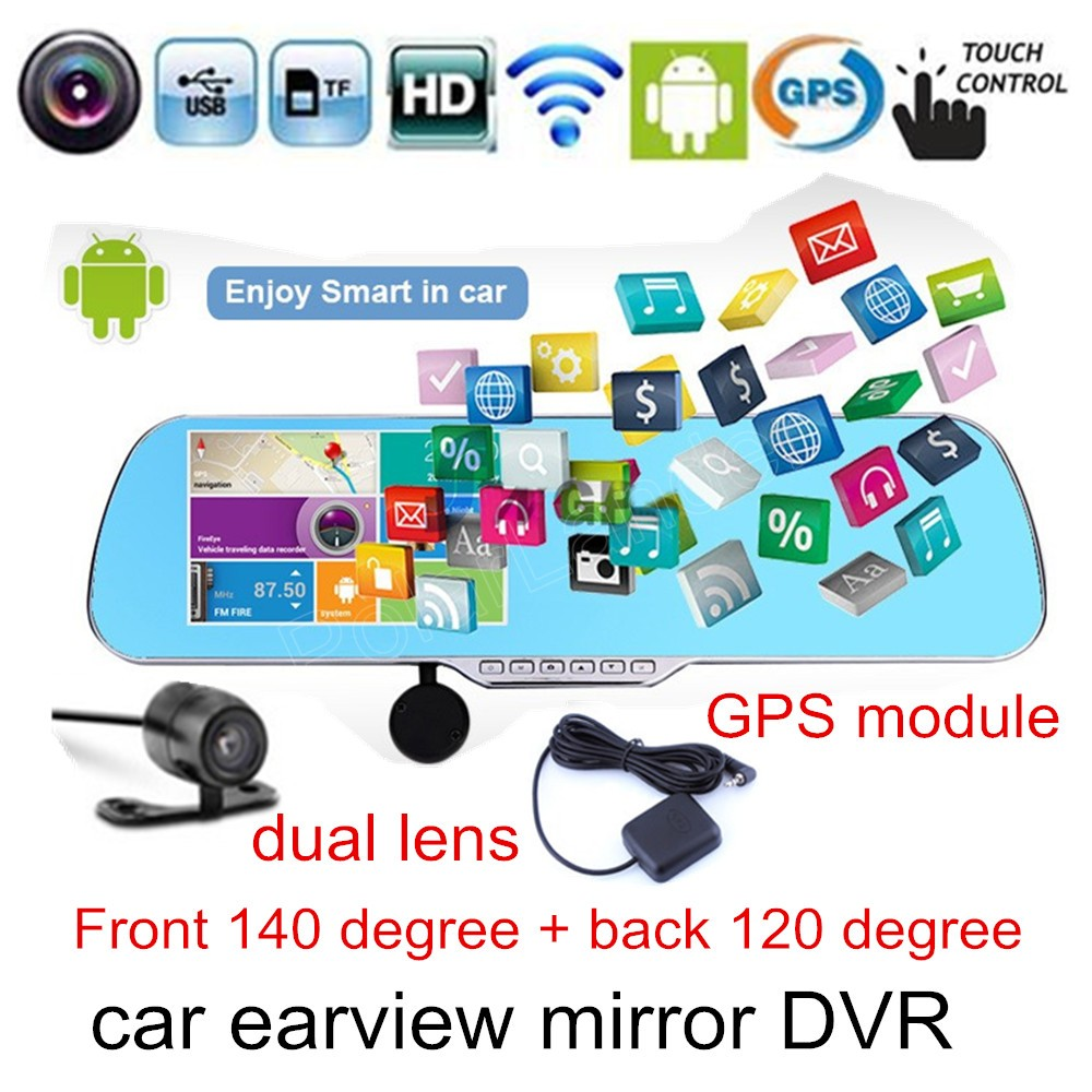 for android WIFI Car GPS navigation module DVR mirror camera 5 inch rearview mirror HD Camera Recorder dual lens touch screen gitup gps module slave camera combination for g3 duo camera