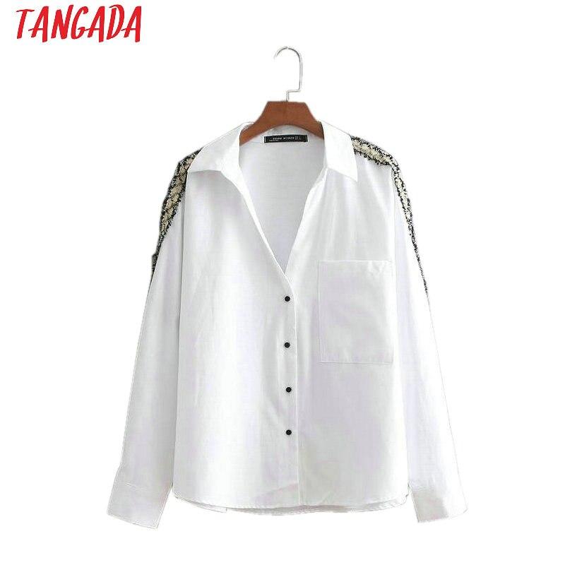 Lady long sleeve turn down collar shirts white female tops blusas  1