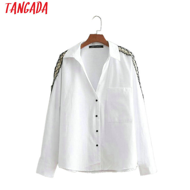 6b0e40631246 Tangada women side striped blouses office lady long sleeve turn down collar  shirts white female tops blusas BE335