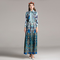 2018 Spring And Autumn Season New Women Lace Up Collar Waist Peacock Blue Vintage Printed Long