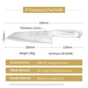 Image 2 - دمشق الصلب سكين الطاهي اليابانية vg10 ماستر سكاكين المطبخ kiritsuke G10 مقبض الحرفية شارب شفرة slicer Bunka fashion