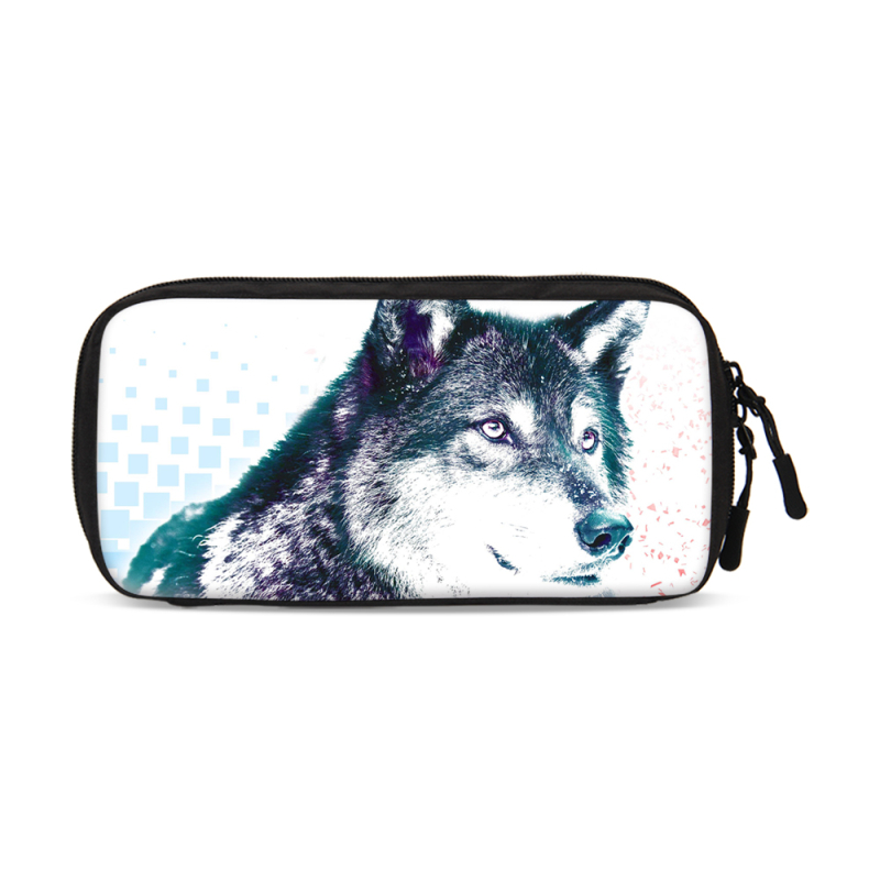 VEEVANV Wolf pattern Double Layer Cable Storage bag Portable Travel Electronic Accessori ...