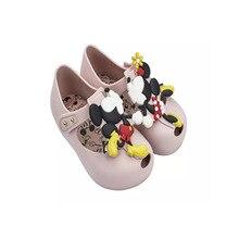 Mini Melissa Girls Sandals 2019 Summer Mickey & Minnie Twins Pattern Shoes Jelly Shoe Girl Non-slip Kids Sandal Toddler