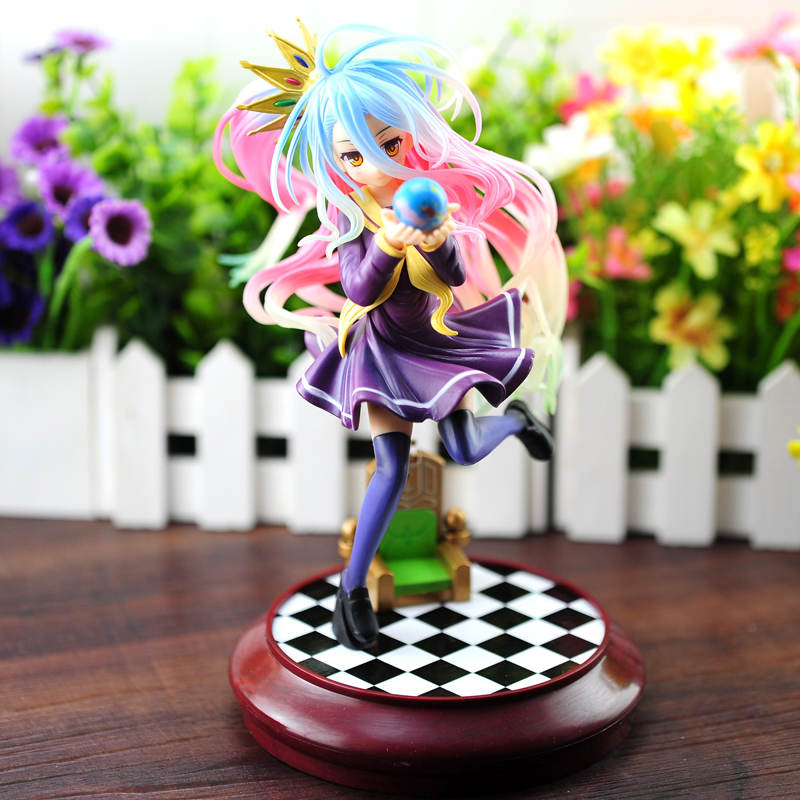22cm 1/7 Scale Japanese Anime NO GAME NO LIFE Shiro PVC Action Figures Sexy Girl Action Figure Model Toys Gift 15cm anime life no game no life shiro game of life 1 7 scale pvc action figure model toys
