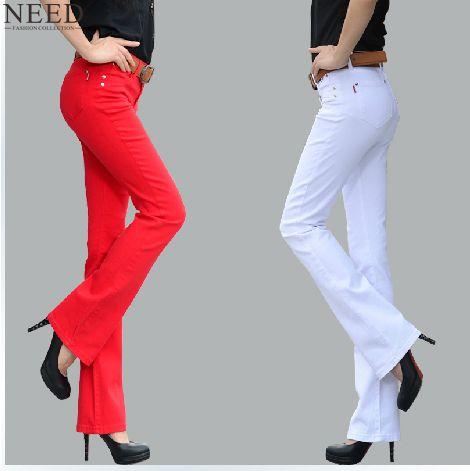 2019 pantalones para las mujeres negro colores de caramelo pantalones  acampanados Mujer Plus tamaño Pantalones de campana inferior para las  mujeres en ... 7b476187257