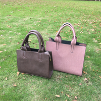 Rectangle Brown Leather Tote Bag With Adjustable Strap, Medium Size Solid Color Totes Vegan Leather Tote DOMIL-1010470