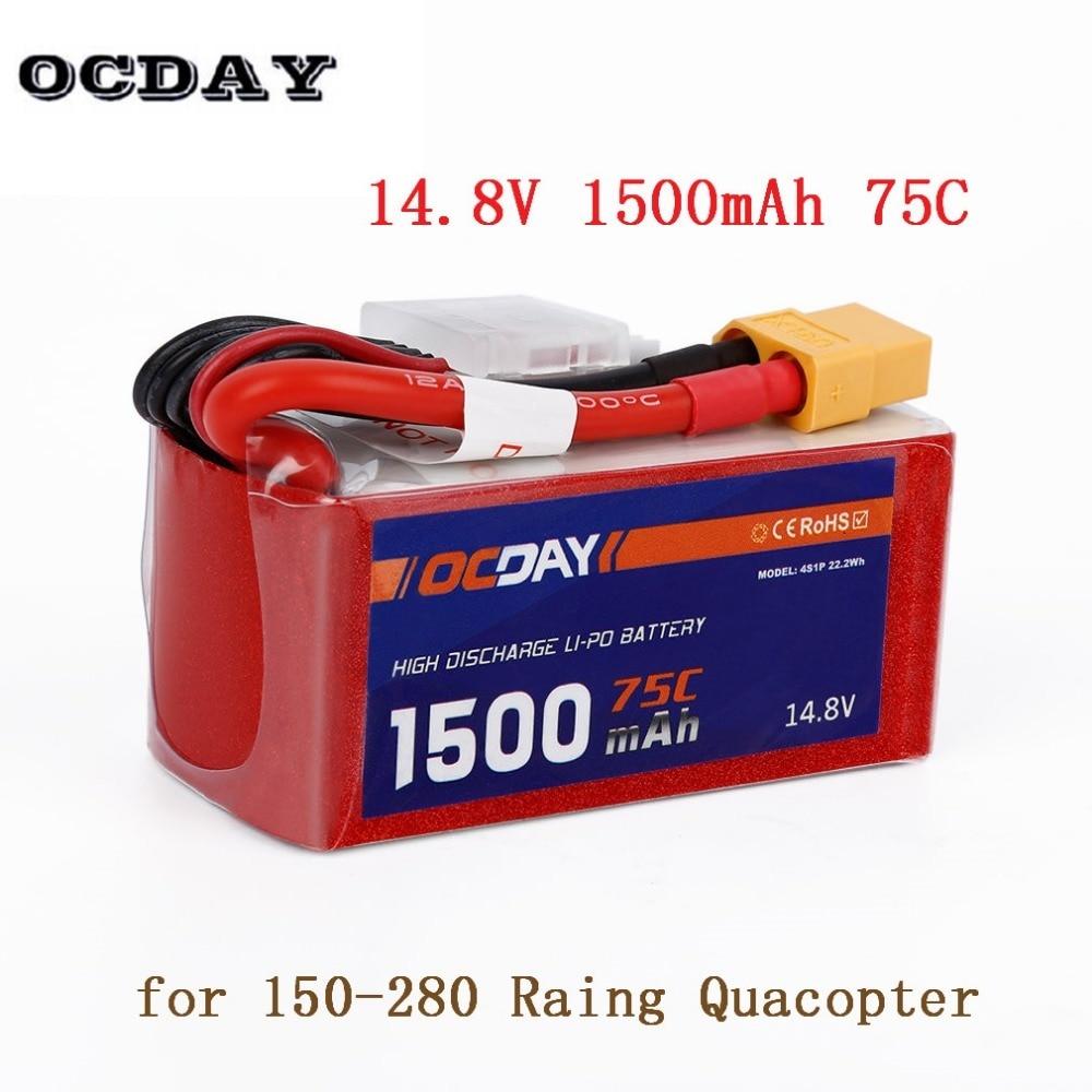 1pcs OCDAY 4S1P 22.2WH 14.8V 1500mAh 75C Lipo Battery with XT60 Plug for RC 150-280 Raing Quacopter acehe 15 2v 1600mah 2500mah 5200mah 6600mah 50c 4s1p 24 32wh xt60 plug high voltage lipo battery