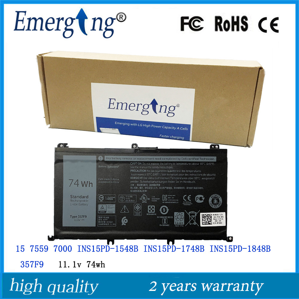 11.1 v 74Wh Nova Bateria Do Laptop Original para Dell Inspiron 357F9 15 7559 7000 INS15PD-1548B INS15PD-1748B INS15PD-1848B