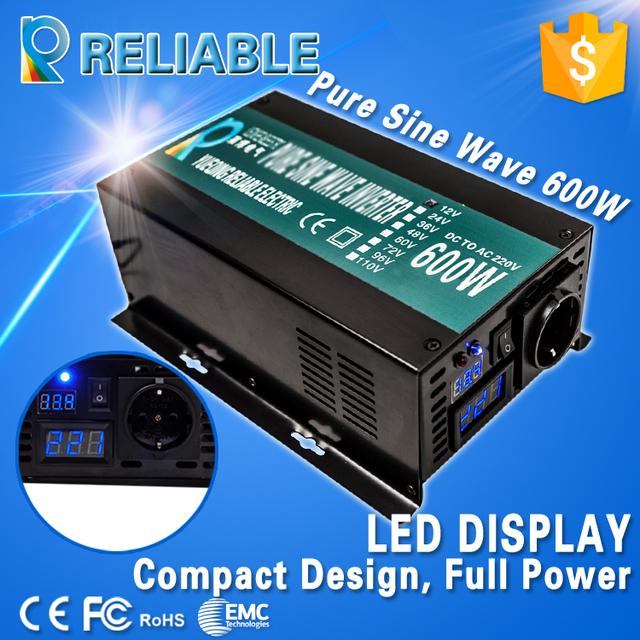 Free shipping! LED Display Off Grid 600W Full Power 12V/24V DC to 110V/120V/220VAC Converter Pure Sine Wave Solar Power Inverter