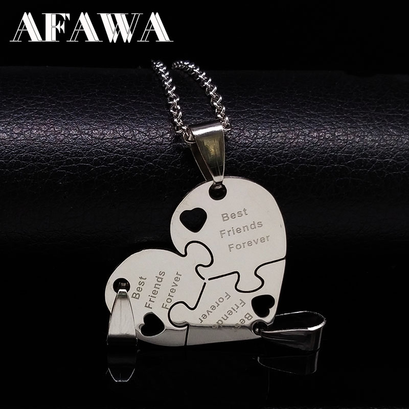 3Pcs Best Friends Pendant Necklaces Silver Color Choker Neckless Stainless Steel Friendship Necklace Women Girls Jewelry N413S01(China)