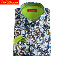 Cotton With Printed Colorful Green Paisley Male Casual Fashion Designer Shirt Man S Custom Tailor Made