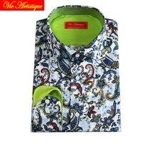 floral paisley shirt men's dress shirts male cotton shirts tailored casual slim fit long sleeves plus big size blue 2018 XL VA