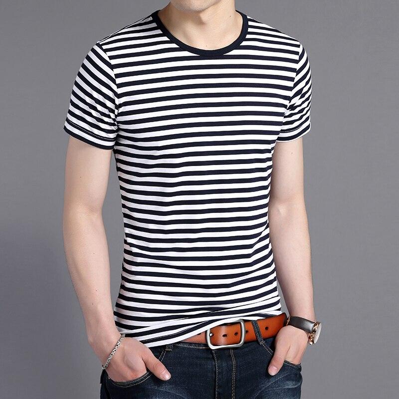 2020 New Fashion Brand Tshirt Mens O Neck Korean Summer Street Wear Tops Trends Striped Cool Short Sleeve T-Shirt Men Clothing
