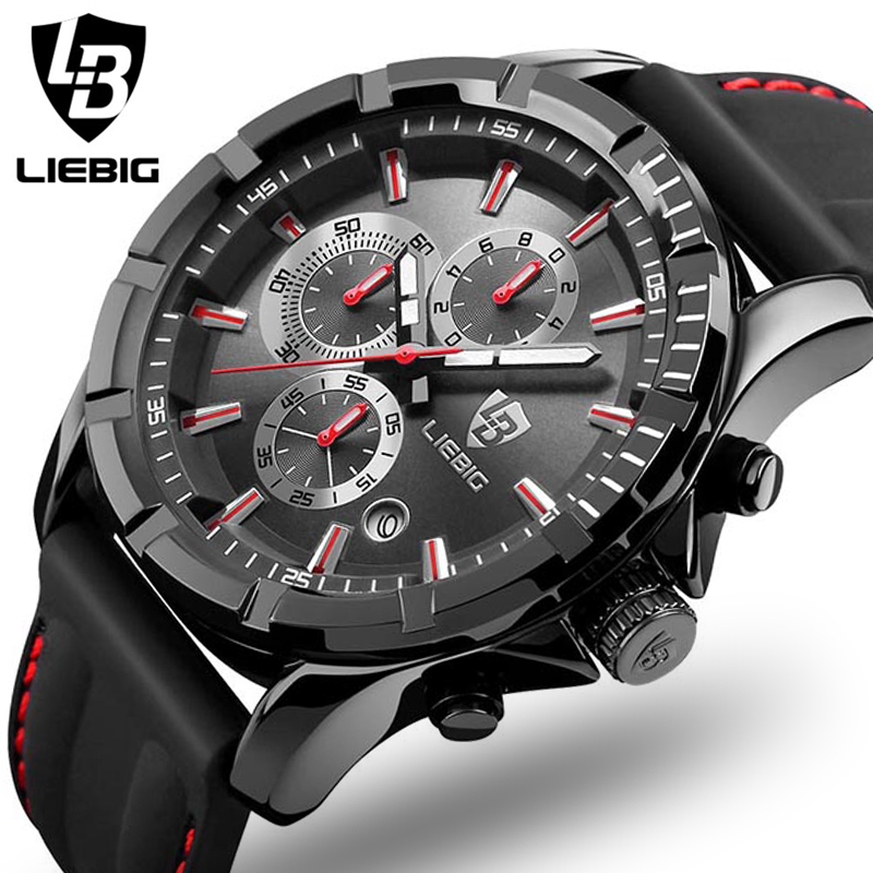Genuine LIEBIG Fashion Quartz Male Watches Genuine Leather Watches Racing Men Students Game Run Chronograph Watch