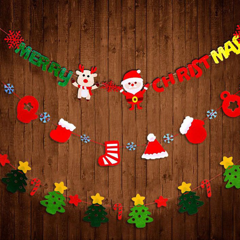 100set/lot Felt Marry Christmas Letters Christmas Tree Flags Garland Wall Banner Set Indoor Outdoor Decoration Supplies ZA4395 ...