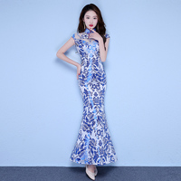 Embroidery Blue Flower Lady Chinese Dress Cheongsam Perspective Trumpet Dresses Slim Tight Sexy Evening Party Gown Vestidos