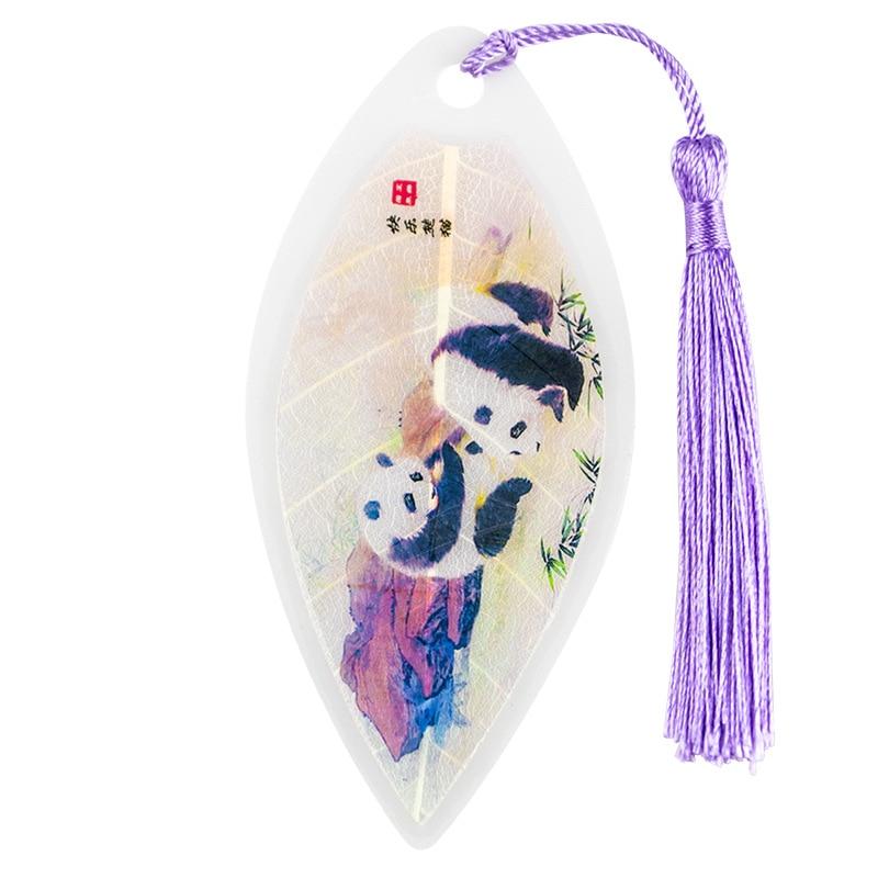 Kawaii Panda Bookmark Vintage Chinese Style Tassel Leaves Vein Book Marks School Office Supplies