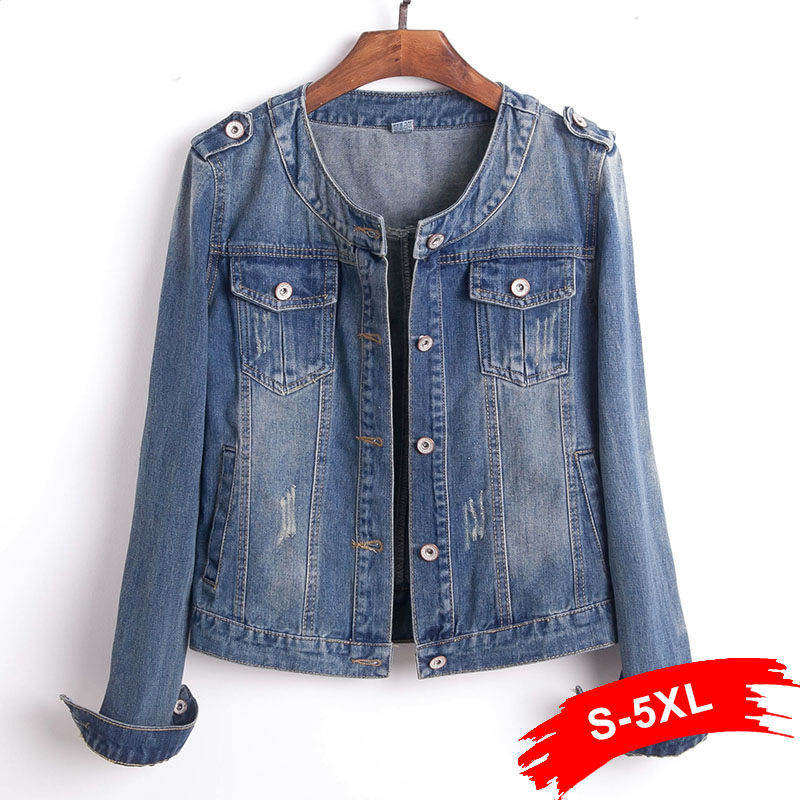 Plus Size Round Collar Jeans Jacket 4XL 5XL Sweet Women Light Blue Bomber Short Denim Jackets Long Sleeve Jaqueta Casual Coat