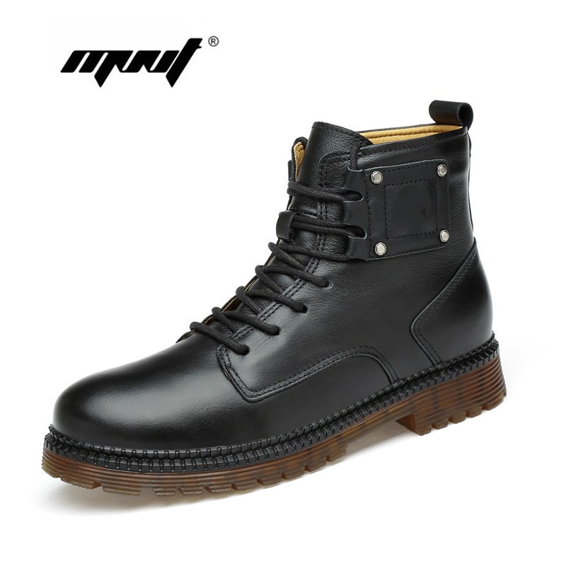 Natural Leather Men Boots Super Warm Fur Winter Shoes Handmade Ankle Snow Boots For Men Shoes Zapatos Hombr in Snow Boots from Shoes