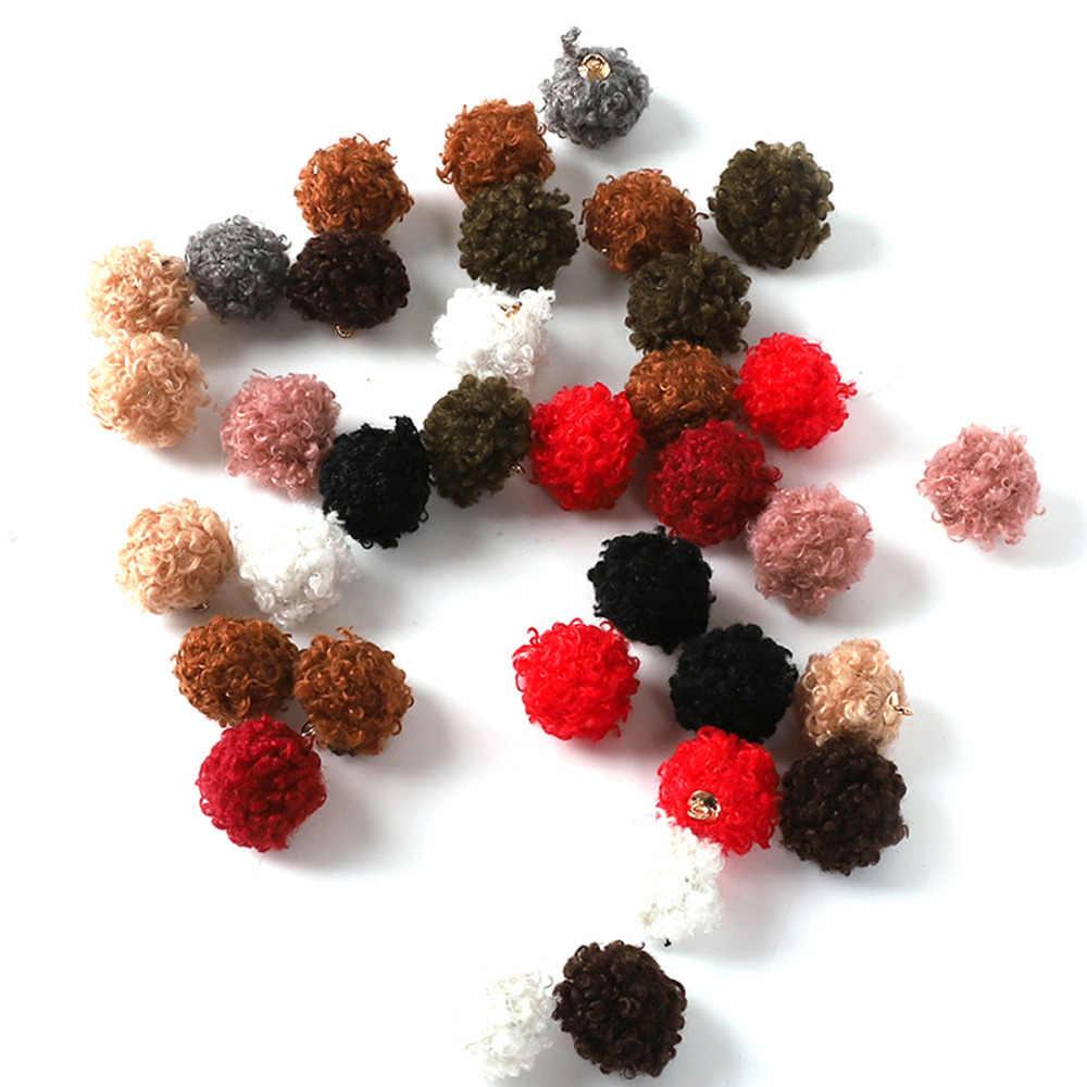 Kolorowe pluszowe przebite przycisk 10 sztuk/partia 20mm pompon Ball tkaniny koraliki dodatki krawieckie do torby ubrania dekoracji