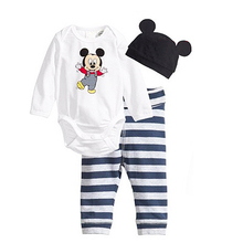 2017 Newborn Baby Girl Clothing Set (Romper+Hat+Pants 3 pcs) Mickey Minne Infant Baby Boys Clothes Babies Pajamas Roupas Bebes
