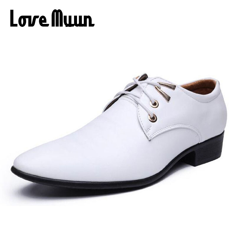 White Fashion mens dress shoes low heels mens PU leather lace up shoes wedding business Oxfords mens Pointed toe flats AB-36 vintage wine red men dress shoes genuine leather lace up business wedding male shoes retro man fashion pointed toe high heels