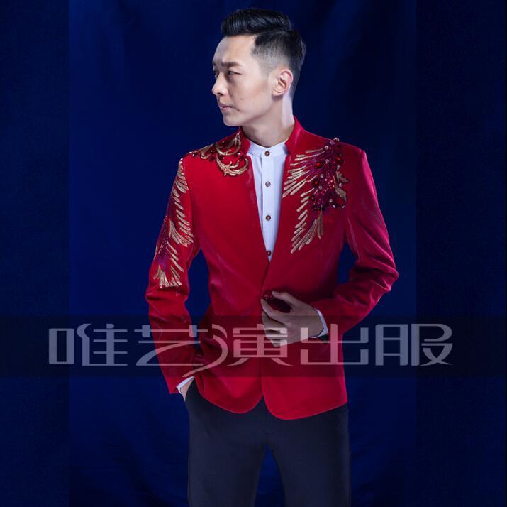 Rouge hommes paillettes costumes conceptions masculino homme terno costumes de scène pour les chanteurs hommes blazer vêtements de danse veste étoiles style bleu