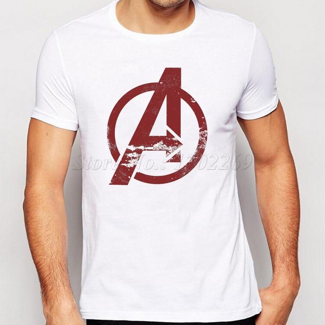 2018 Nóng Bán Hàng Marvel của The Avengers Men t shirt Short tay áo The Avengers Biểu Tượng Logo Được In Nam Đứng Đầu Thư Hispter tee sơ mi