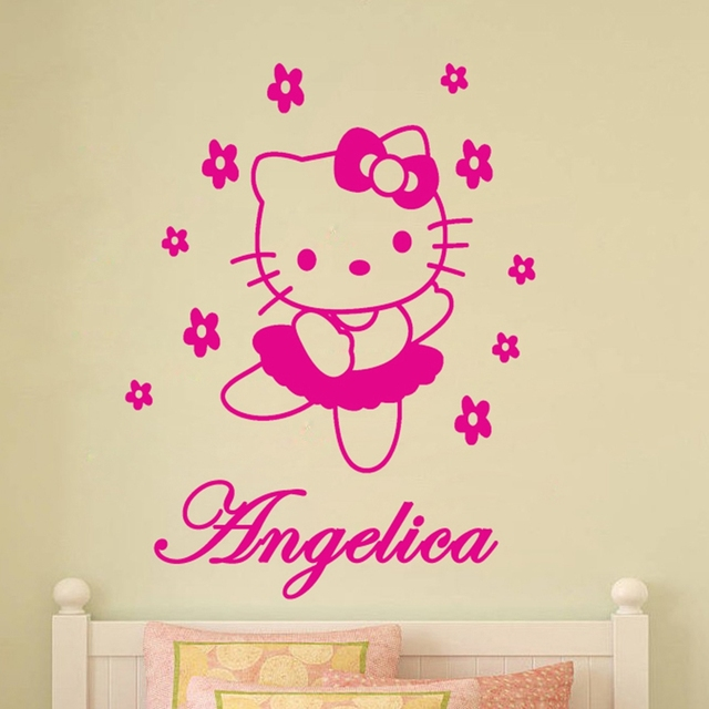Lovely Hello Kitty Customized Any Name Vinyl Wall Sticker Cartoon Personalized  Wall Decals For Girls Room Part 95