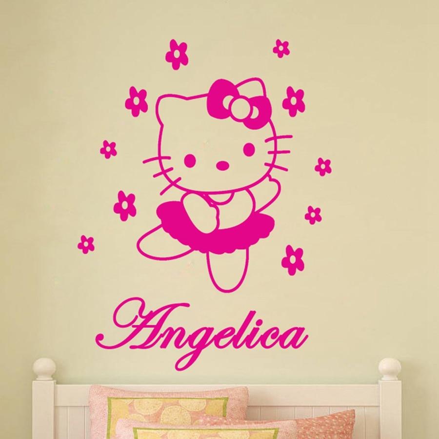 Hello kitty bedroom ireland - Lovely Hello Kitty Customized Any Name Vinyl Wall Sticker Cartoon Personalized Wall Decals For Girls Room