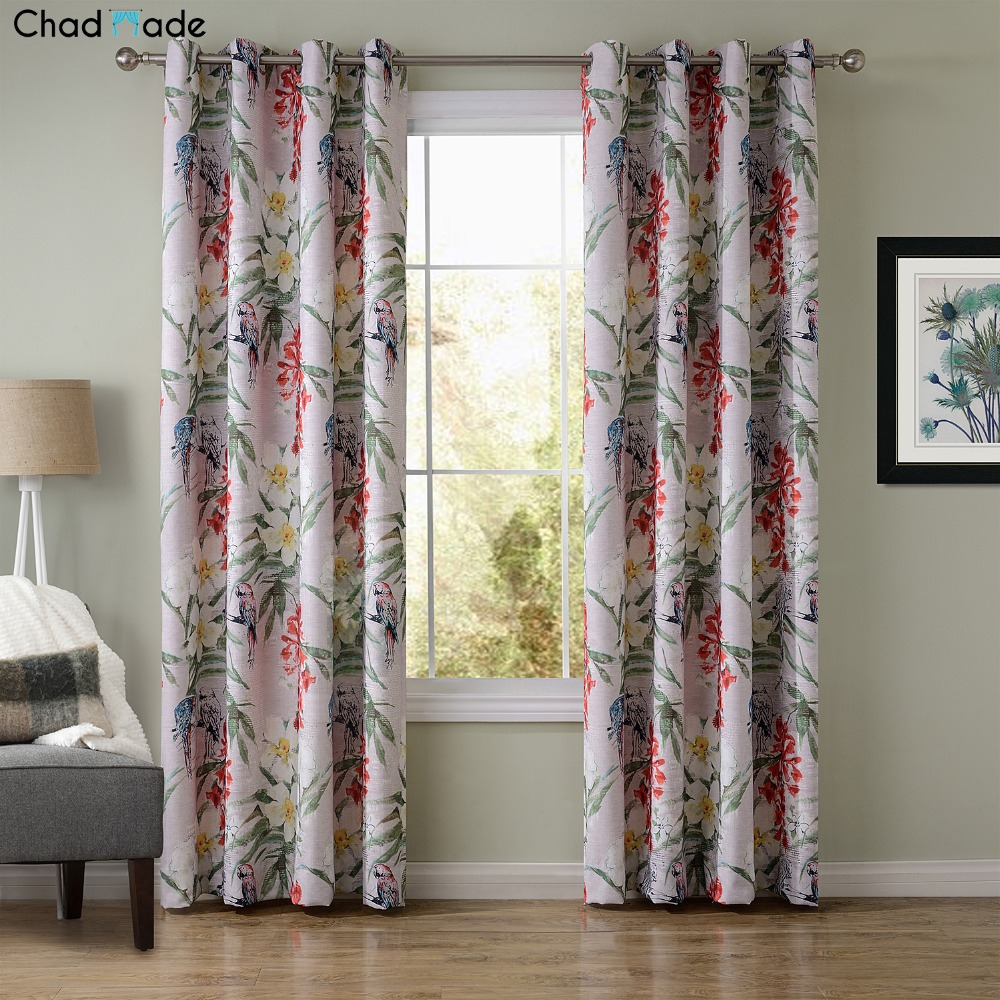 Designer curtain panels - Chadmade Sofitel Parrot Flower Heat Transfer Print Pattern Blackout Lined Curtain 1 Panel Drapes For Living Room Bedroom 8142e