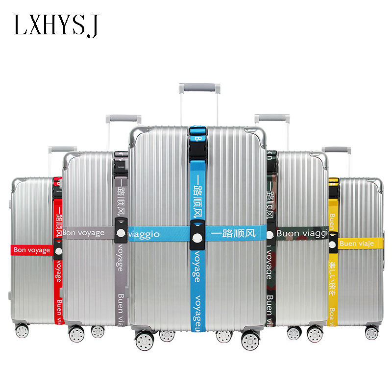 Elastic Force Adjustable Luggage Straps Detachable Cross Baggage Belt Polyester Suitcase Packing Belt Travel Accessories