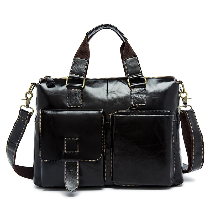 Fashion Leather business bag head layer cowhide briefcase man inclined leather shoulder bag
