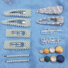 12 Pcs/set Pearl Hair Clip Crystal Rhinestone Clamp Hairpin Acrylic Hollow Waterdrop Girls Accessories Clips For