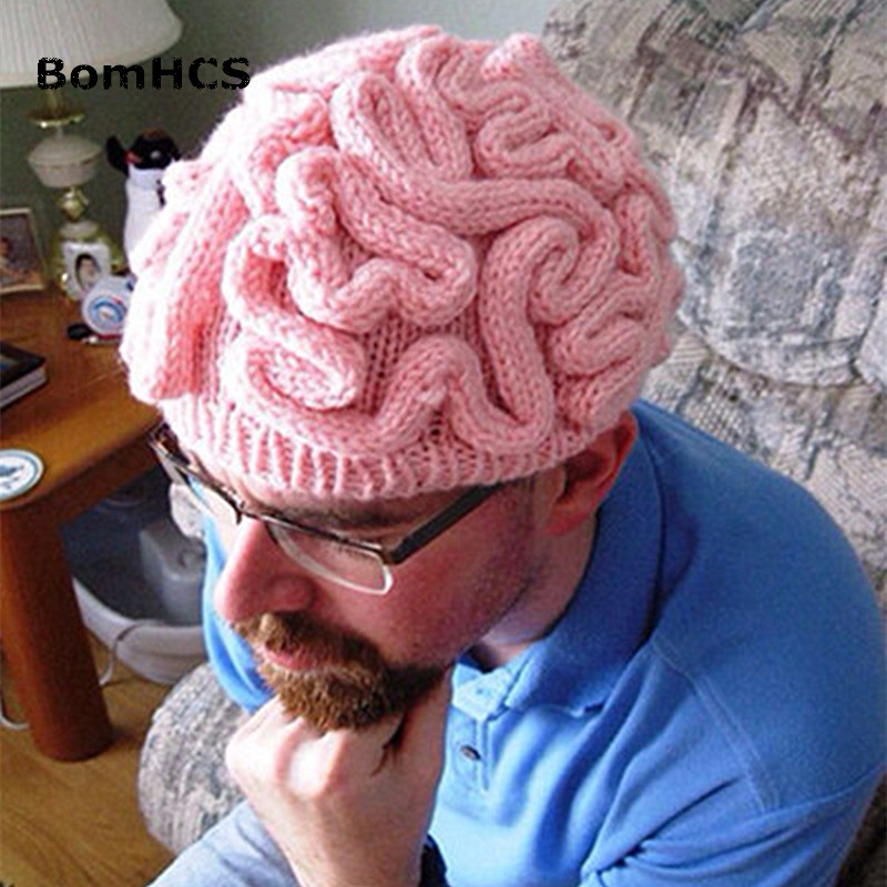 BomHCS New Gift Novetly Terror Big Brain Hat 100% Handmade Knitted Warm Winter Brains Beanie Halloween Party Presents