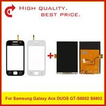 """عالية الجودة 3.5 """"لسامسونج ace duos s6802 شاشة lcd مع لوحة لمس الشاشة التحويل الرقمي الاستشعار + تتبع قانون"""