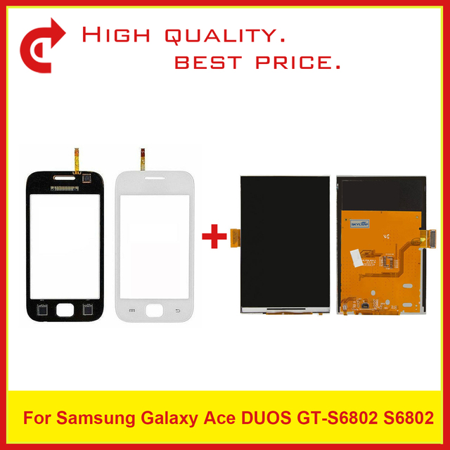 """High Quality 3.5"""" For Samsung Ace Duos S6802 LCD Display With Touch Screen Digitizer Sensor Panel+Tracking Code"""