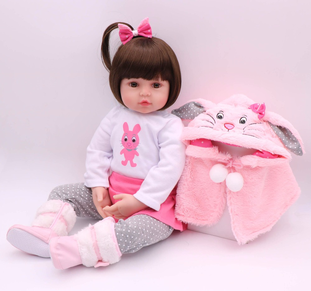 24 Bebe Reborn Doll Toys for Children 60cm Princess Hair Style Adora Girl Doll with Pink Lovely Plush Rabbit Clothes Set