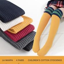 4 pairs/Lovely Girls Knee High Socks For Princess Long Sock kids football socks Children Baby Tube Leg Warm