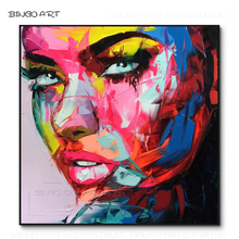 Excellent Artist Hand-painted High Quality Abstract Portrait Acrylic Painting Nielly Françoise Knife