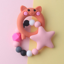 Food Grade Silicone Teethers DIY Animal Baby Ring Teether Infant Baby Silicone Chew Charms Kids Teething Toddler Toys Pacifier personalized name baby teether silicone pacifier clips holder infant teething toys baby shower gift food grade silicone