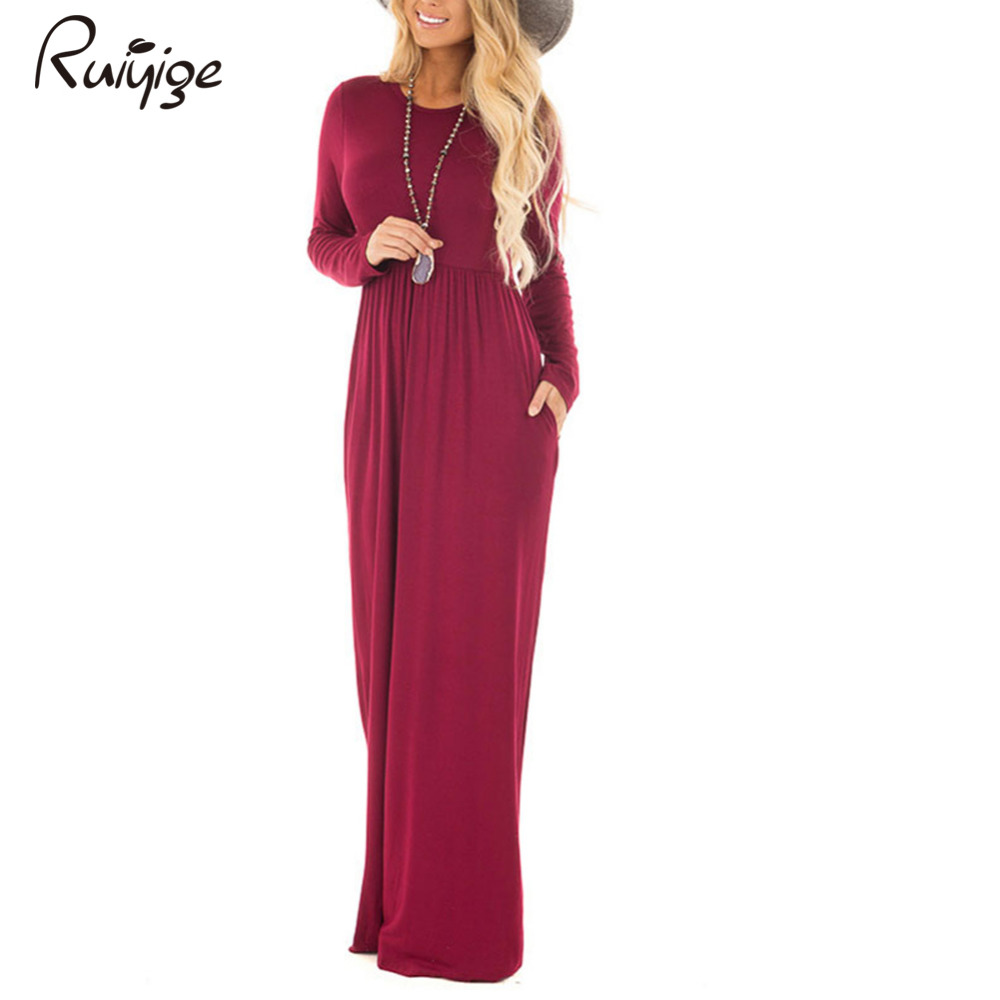 eaf1b3c3a446 Ruiyige 2017 Winter Women Vintage Solid Full Sleeve O-Neck Tunic Elastic  Long Maxi Dresses With Pockets Feminino Elegant Robes | Buy Men and Women's  ...