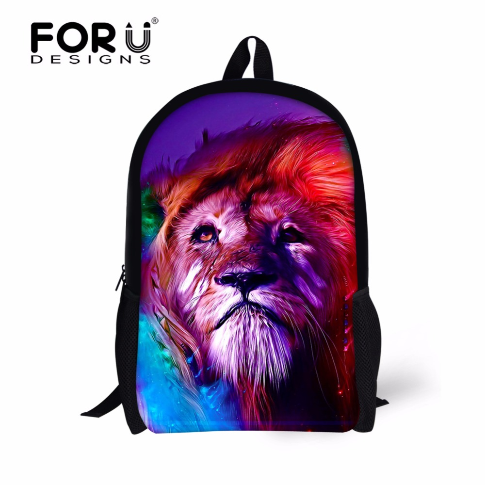 FORUDESIGNS Cool Lion Printing Backpack for Boys Girls,3D Animal Kids Customized Backpacks,Children Cute Bag Pack to School