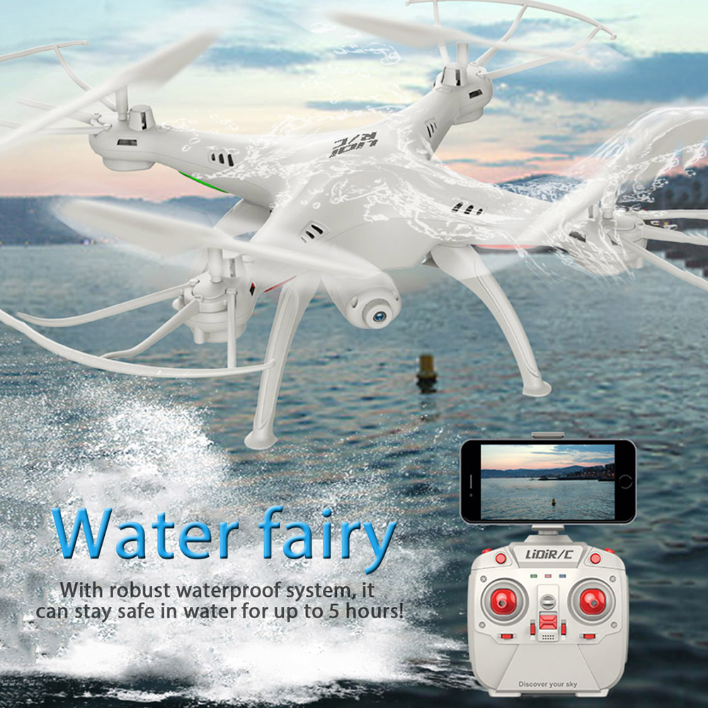 RC Drone Con WiFi FPV Videocamera HD LiDiRC L15FW Quadcopter 2.4 GHz 4CH 6 Axis Gyro Impermeabile Modalità Headless Elicottero VS JJRC H37