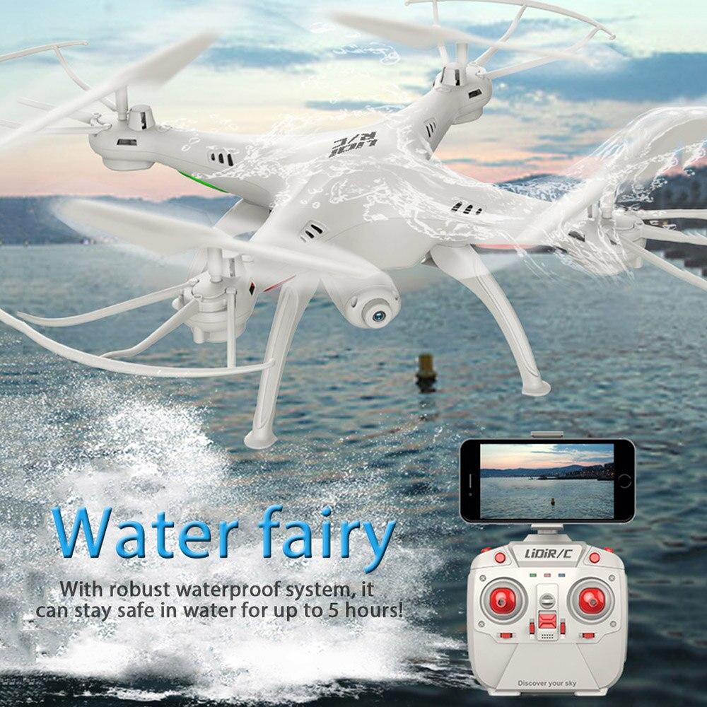 RC drone con WiFi FPV HD Cámara lidirc l15fw quadcopter 2.4 GHz 4ch 6 AXIS Gyro impermeable modo sin cabeza helicóptero VS jjrc h37